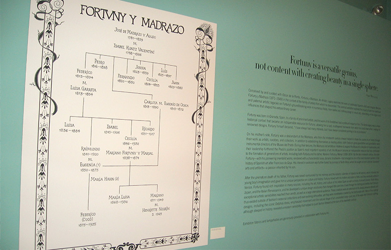 This was a first for me. The Fortuny exhibition at the Queen Sofía Spanish Institute needed a family tree of the illustrious fabric and fashion designer Mariano Fortuny. (While I was there seeing the exhibit, I saw Tim Gunn! I followed him around, eavesdropping, while he told his friends about Fortuny's work.) Exhibit design by Stefan Beckman.