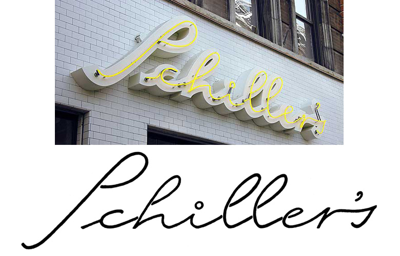 I designed the lettering for the neon sign of NYC's downtown hipster hangout, Schiller's Liquor Bar.
