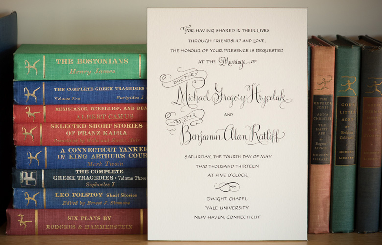 This handsome wedding invitation combines two calligraphy styles, Winston and Bookhand. This unique and sumptuous look carried throughout the whole suite: envelopes, program, menu, escort cards, and gift tags. Engraved by William Arthur on extremely heavy stock, with beveled and gilded edges. (Photos: Robert Norman.)