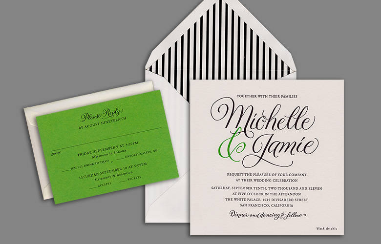 This sprightly green and black and white suite for Michelle and Jamie is by Cheree Berry Paper. I love the bold use of the calligraphy.
