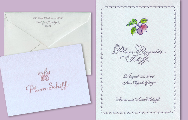 Best name ever. Plum's birth announcement and matching thank-you notecards, in violet and ... plum.