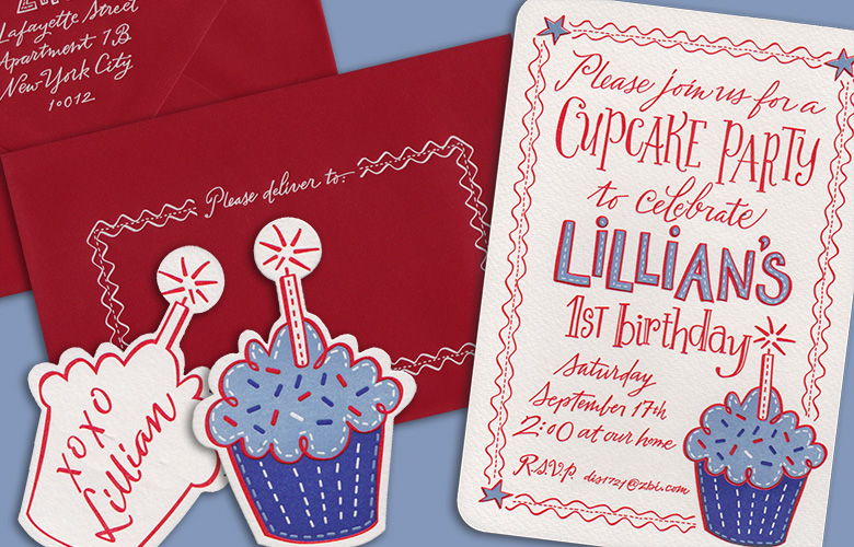 This will be one for the birthday girl's scrapbook. The inspiration of cupcakes and rickrack came from Lillian's special birthday dress. Letterpress printed. Design: I Do Invitations by Sue Coe Designs.