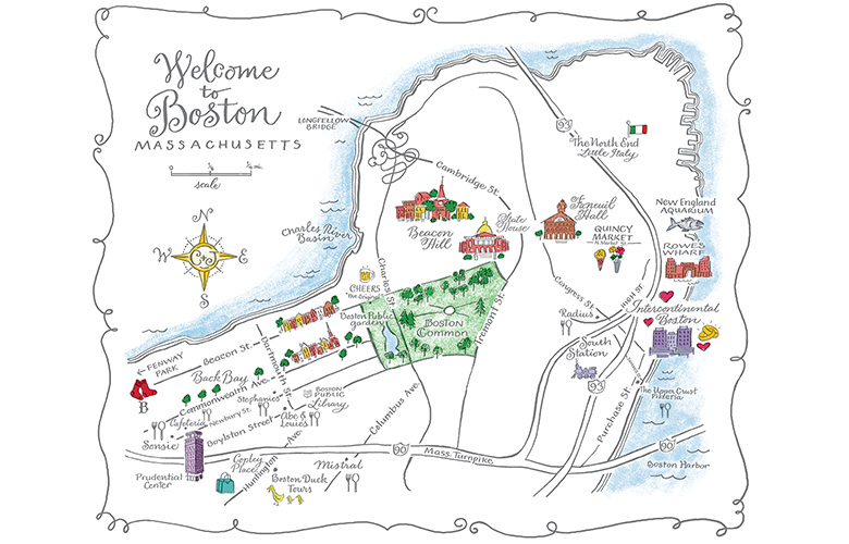 This Boston wedding map shows hotels, wedding venues, and lots of fun local tourist destinations.