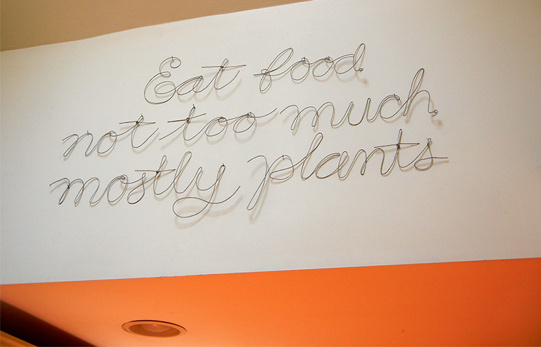Michael Pollan's famous dictum on how to eat. In wire.