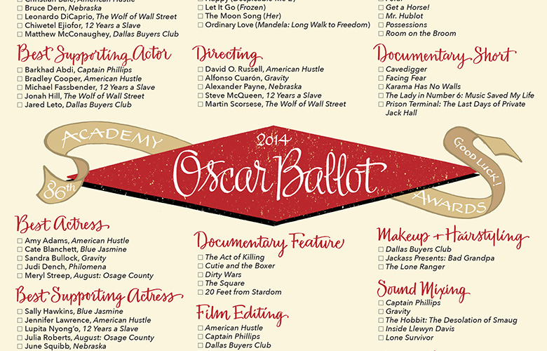 Oscar Ballot, designed with Mark Lerner of Rag & Bone Shop.