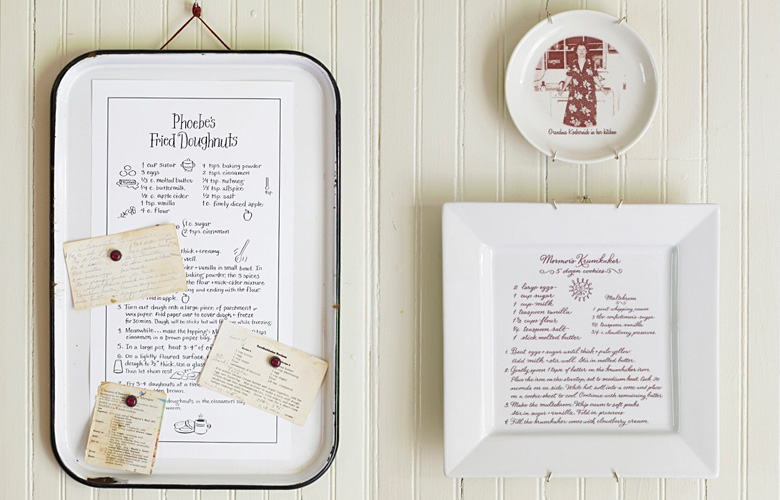 "These keepsake trays are a lovely way to give a family recipe to someone special. For Rebecca Miller Ffrench's gorgeous cookbook, ""Sweet Home,"" I lettered and illustrated a favorite recipe and it was then transferred and printed onto a ceramic serving platter at customsepia.com."